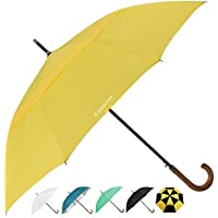 ZEKAR Wooden J-Handle Umbrella, 54/62 / 68 inch, Classic and UV-Protection Versions, Large Windproof Stick Umbrella, Auto Open Men Women Golf Umbrella