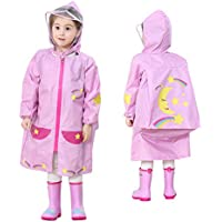LOHOME Unisex Kids Raincoat - Children's Hooded Raincoat Teens Jacket Space Poncho with School Bag Cover Rainwear (M (Fit 3.44~3.94ft Height), Pink Moon)
