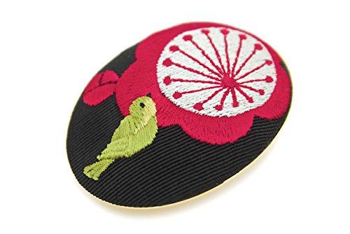 (ソウビエン) 帯留 梅 鶯 刺繍