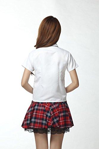 fashion かわいい 赤色チェック柄 AKB 風 制服 コスプレ 衣装 XLサイズ (身長167~178cm)