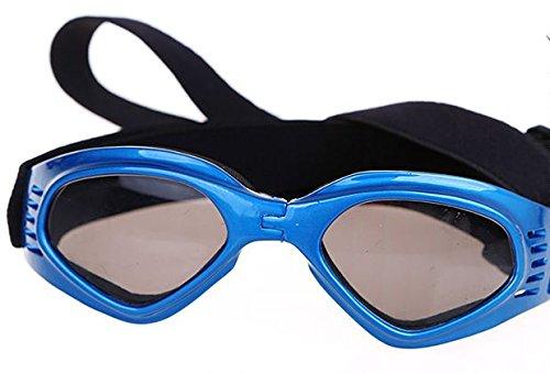 かわいい キュート 小型 犬 用 サングラス ゴーグル メガネ ペット 用品 グッズ ホワイト イエロー ピンク ブルー おしゃれ な 蝶ネクタイ セット (ブルー・S)