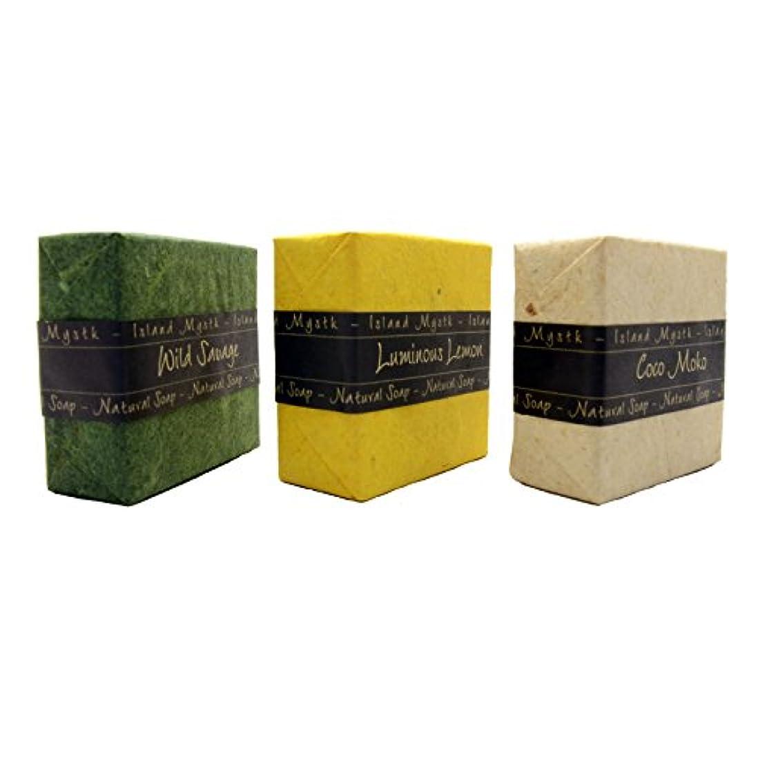 バナー平らな必要とするアイランドミスティック 3個セット 緑黄白 115g×3 ココナッツ石鹸 バリ島 Island Mystk 天然素材100% 無添加 オーガニック