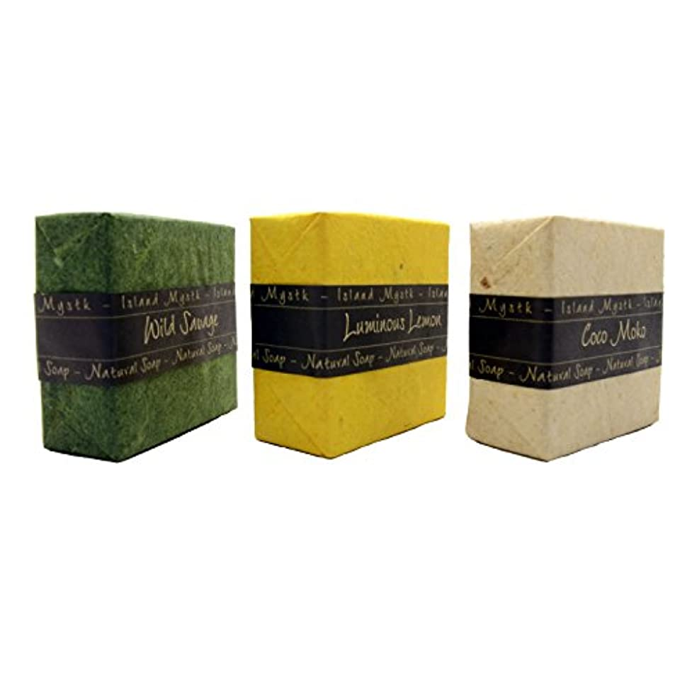 毛細血管謙虚なオプショナルアイランドミスティック 3個セット 緑黄白 115g×3 ココナッツ石鹸 バリ島 Island Mystk 天然素材100% 無添加 オーガニック
