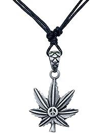 ポットリーフMarijuana Weed Cannabis Herb Ganja Peace Signブラックシルバートーンペンダント調節可能なコードネックレス