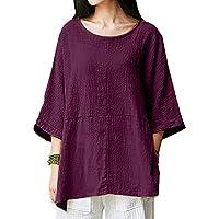 SamMoSon T Shirts Women Funny Women's Casual Loose Short Sleeve Round Collar Cotton Linen Tops Shirts Blouse
