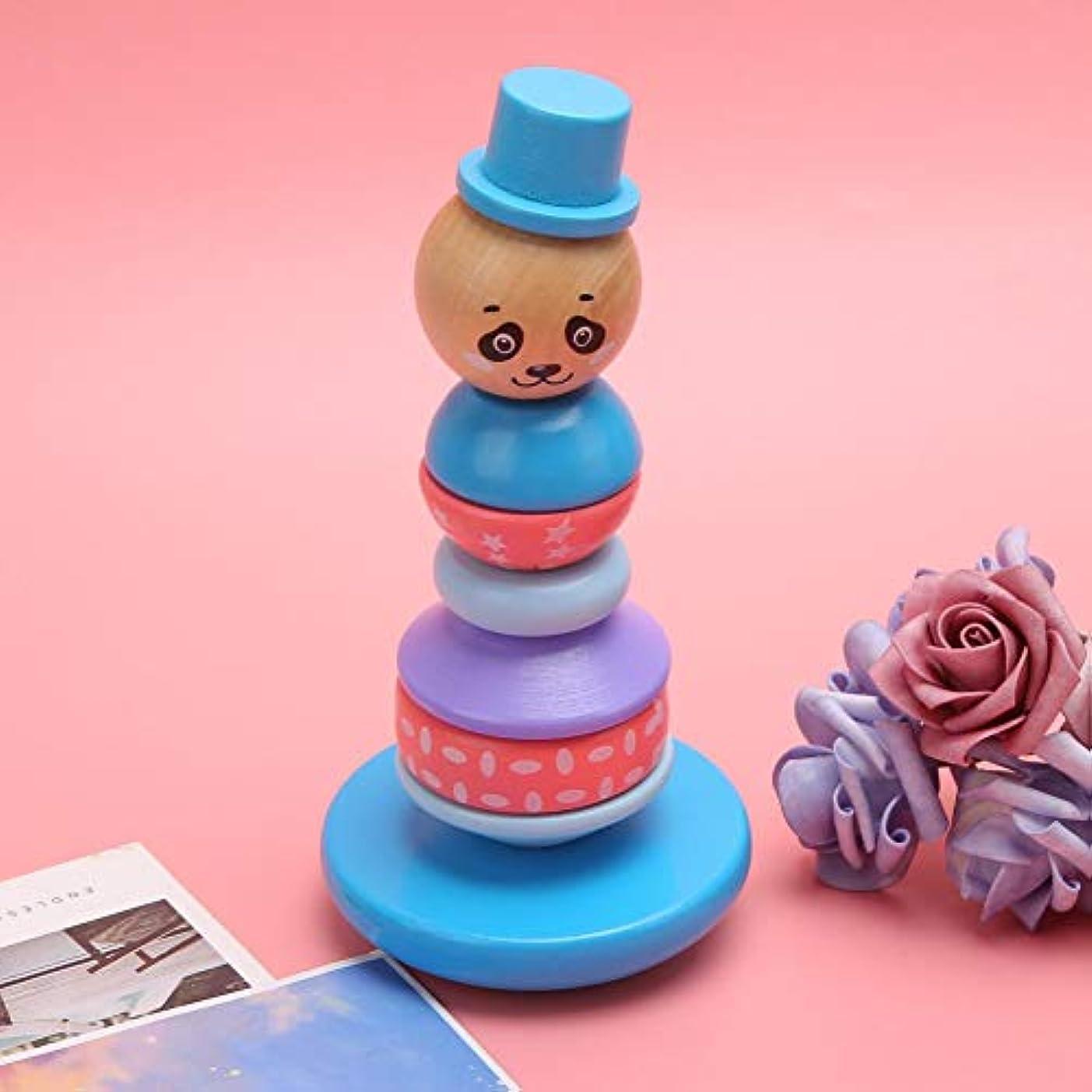 ファッション令状パトロン耐久性のあるスタッキングおもちゃ、タワーおもちゃ安全で健康的な木製スタッキングタワー、キッズベイビー用(Panda)