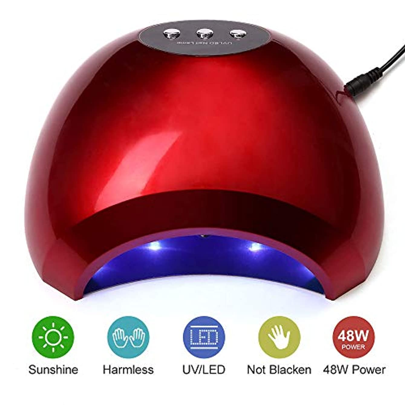 知性金銭的クロニクルネイルドライヤーランプ48W UV LEDネイルキュアランプライトソークオフネイルジェルランプマニキュアペディキュアドライヤー付きセンサー高速