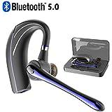 Bluetooth ヘッドセット5.0 ワイヤレスブルートゥースヘッドセット 高音質片耳 内蔵マイクBluetoothイヤホン ビジネス 快適装着 ハンズフリー通話 また日本技適マーク取得品/日本語取扱書(青黒い)