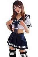 ミニスカ セーラー服 & Tバック セット セクシー コスプレ 衣装 コスチューム レディース フリーサイズ