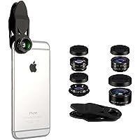 5 イン 1 カメラレンズキット、スマホ用カメラレンズ、Flykul クリップ式レンズ -- フィッシュアイレンズ、2イン1 マクロレンズ & ワイドアングルレンズ、CPL レンズ、2倍ズームテレフォトレンズ、ユニバーサルクリップ、全機種対応(スマートフォン、タブレット、ラップトップ) 簡単装着