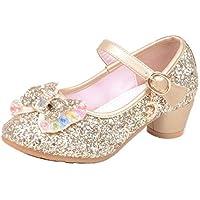 通用 HB Girls Princess Ballet Shoes Plat Glitter Low Heel Dance Party Shoes for Dress