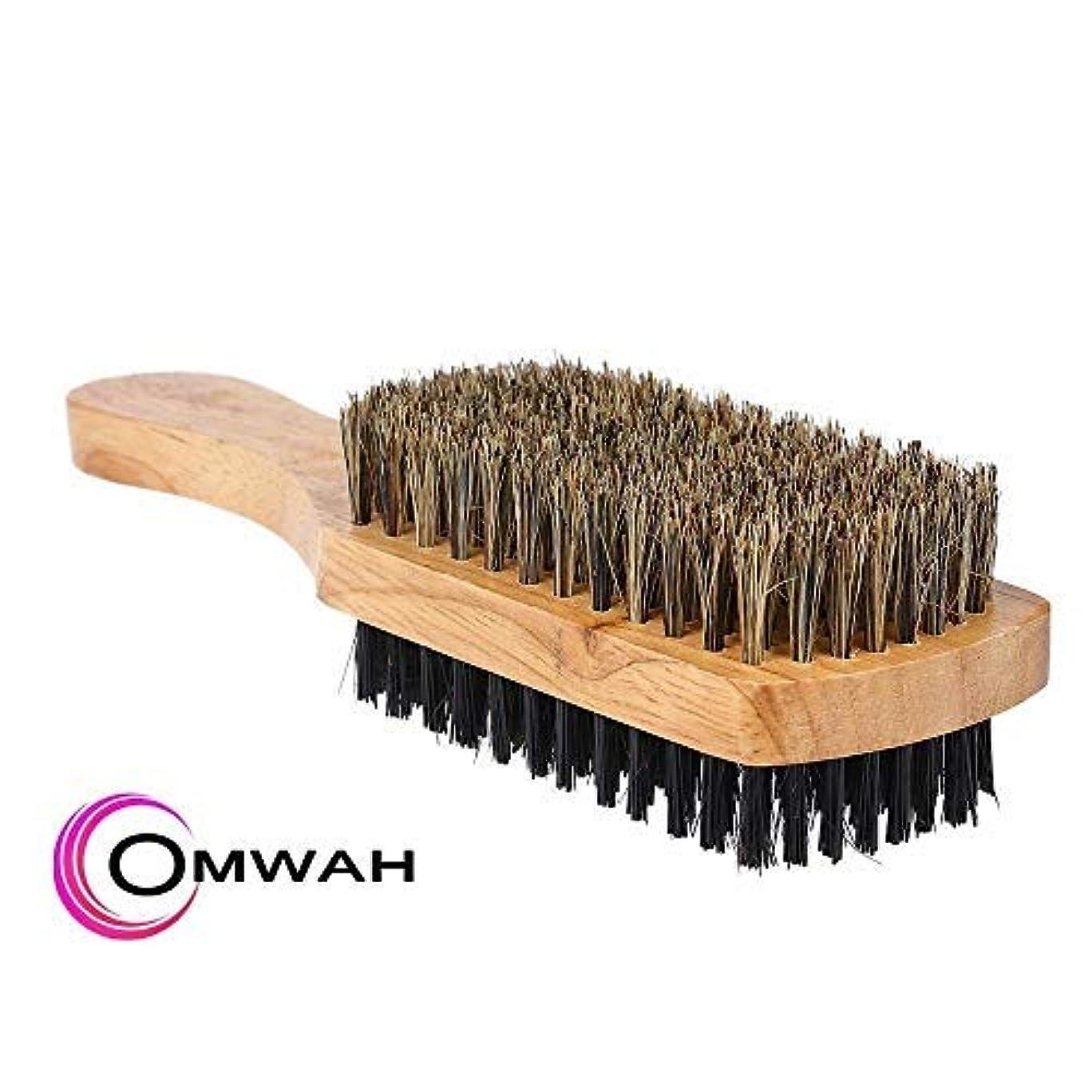 カウンタ弱い浸したOmwah Double Sided 2 Sided Facial Hairbrush Styling Beard Brush Mens Boar Bristle [並行輸入品]