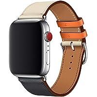 WFEAGL コンパチブル Apple Watch バンド,は本革レザーを使い、iWatch Series 5/4/3/2/1、Sport、Edition向けのバンド交換ストラップです コンパチブル アップルウォッチ バンド (42mm 44mm, ダークブルーのアイボリー バンド+シルバー 四角い バックル)
