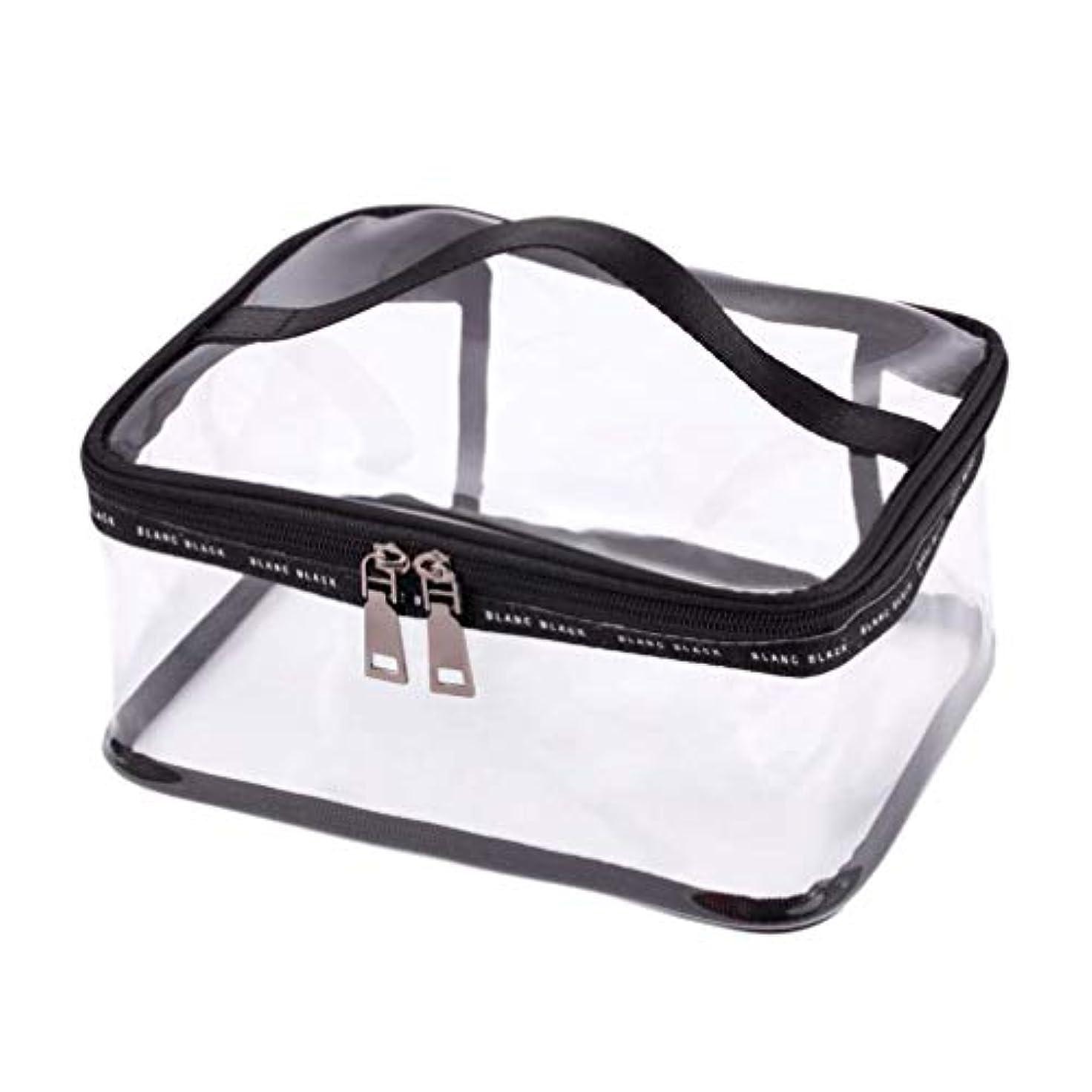 マリン考える肝RETYLY ポータブルクリア化粧バッグジッパー防水透明旅行収納ポーチ化粧品トイレタリーバッグ、ハンドル付き(2個入り)ブラック-M