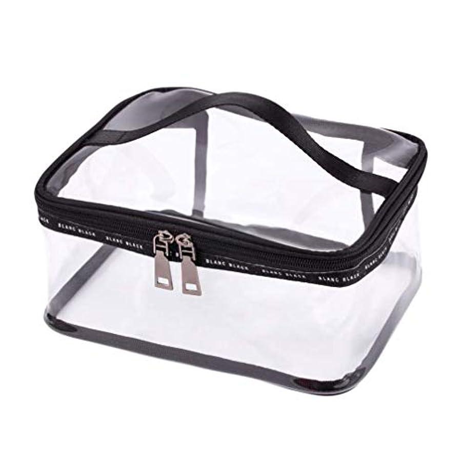 圧倒する味方拡大するSODIAL ポータブルクリア化粧バッグジッパー防水透明旅行収納ポーチ化粧品トイレタリーバッグ、ハンドル付き(2個入り)ブラック-M