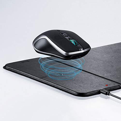 サンワダイレクト Qi対応マウス & Qi対応マウスパッド 充電式 ワイヤレス 5ボタン ブルーLED 400-MA119BK