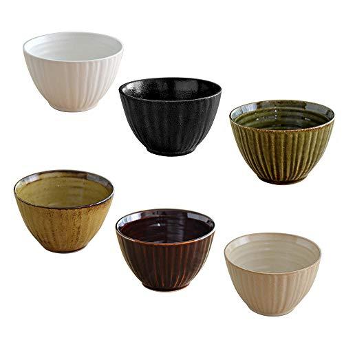 テーブルウェアイースト 和のスモールボウル 6色1個ずつセット 小鉢 湯呑み スープカップ 白,黒,アメ,緑,カラメル,ベージュ 22.5 x 14.4 12.4 cm SET-101-0