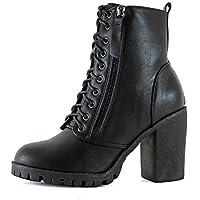 Guilty Heart Womens Platform Stacked Block Heel Ankle Bootie - Vegan Comfortable Lace Up Combat Boots