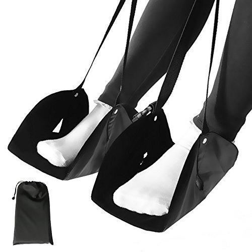 フットレスト 足置き VOKATA 両足がぶつからない 足らくちん セパレートタイプ 旅行用品/飛行機/バス/新幹線/出張 むくみ防止 長さ調節可能 機内用足置き コンパクト 収納バッグ付き