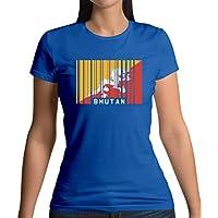 Bhutan Barcode Style Flag - Womens T-Shirt - 13 Colours
