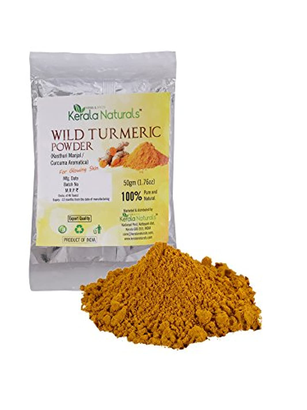 Kerala Naturals Wild Turmeric - Kasthuri Manjal: For Glowing Skin - 100 gm - ケララナチュラルズワイルドウコン-カストゥリマンジャール:輝く肌用...