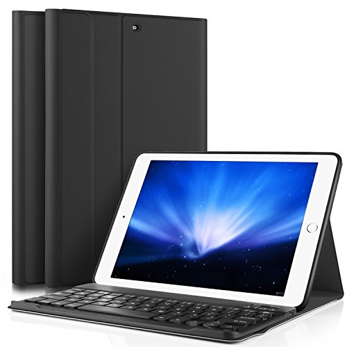 ELTD ipad pro 10.5 ケース, ipad pro 10.5 キーボードカバー PUレザーケースマグネット 角度調整スタンド機能 タッチペンホルダー ハンドストラップ付 熱処理カバー ipad 10.5インチキーボード付きケース  脱着式 手帳型  最軽量 全面保護型(ブラック)