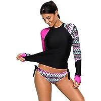 Obosoyo Womens Long Sleeve Rash Guard UPF 50+ Rashguards Vibrant Print Tankini Swimsuit