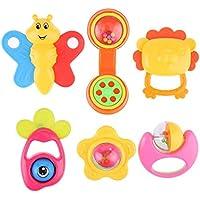 Domybest ラトル ガラガラ 赤ちゃん玩具 6点セット歯固め 振り玩具 フレンドベル 新生児 出産祝い プレゼント 可愛い 手の鳴らす鈴 色 聴覚に刺激 知育玩具 安全材料 6pcs