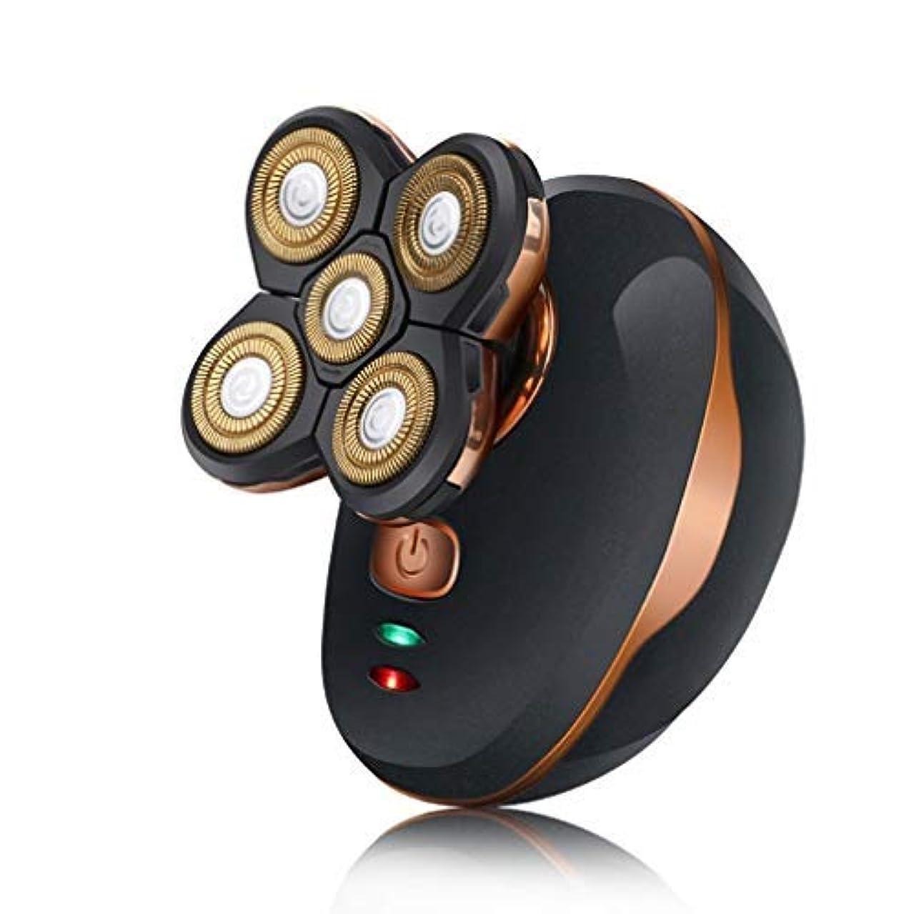 映画顎解釈的耐久性のある一般的な5頭防水シェービング刃カミソリ電気シェーバー用USB充電式ウェットドライポータブル