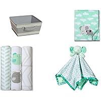 Baby Gift Set Storage Bin with Plush Baby Blanket, Muslin Swaddle, Elephant Security Blanket [並行輸入品]