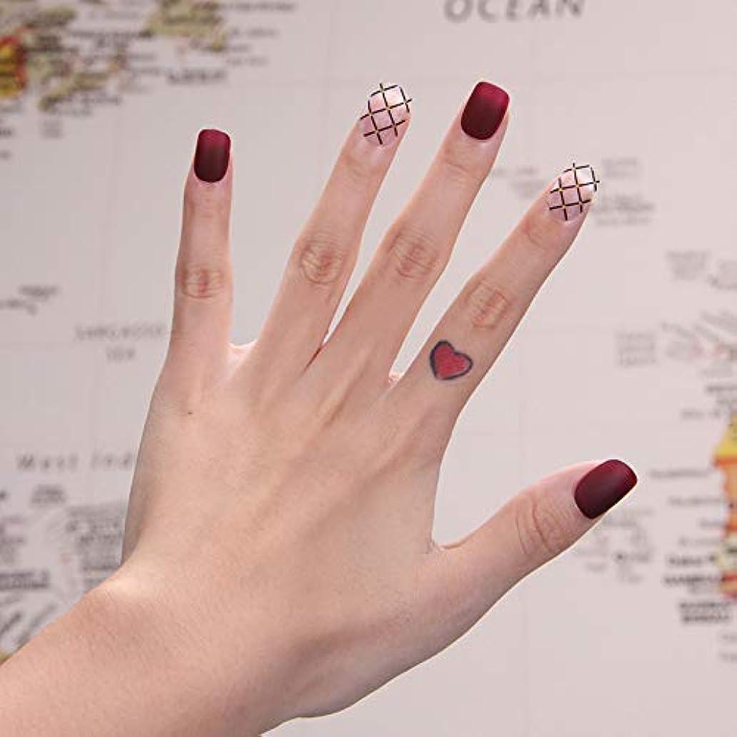 廃止儀式生活可愛い優雅ネイル 女性気質 手作りネイルチップ 24枚入 簡単に爪を取り除くことができます フレンチネイルチップ 二次会ネイルチップ 結婚式ネイルチップ (砂を磨き グリッド)