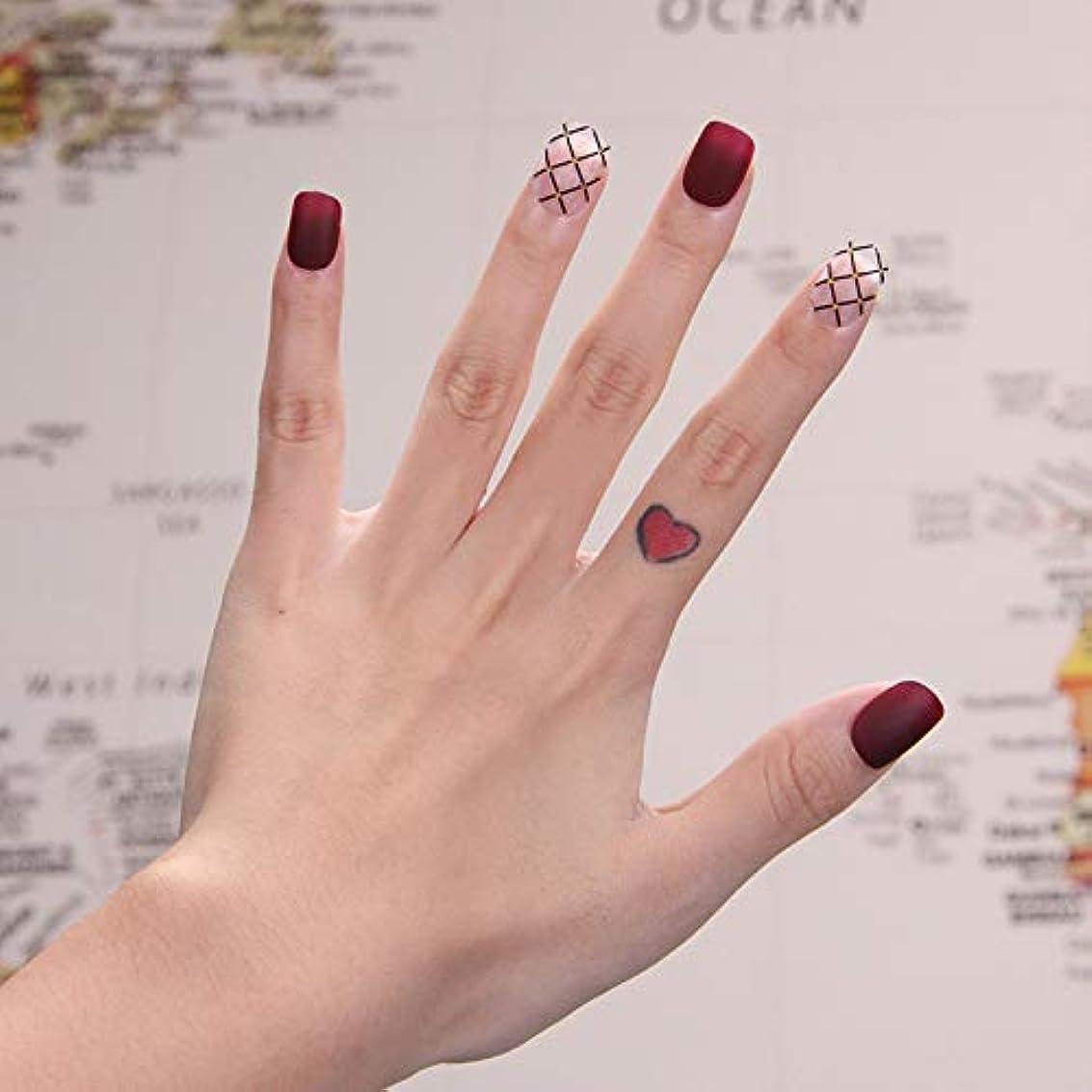 優雅ボトルトムオードリース可愛い優雅ネイル 女性気質 手作りネイルチップ 24枚入 簡単に爪を取り除くことができます フレンチネイルチップ 二次会ネイルチップ 結婚式ネイルチップ (砂を磨き グリッド)