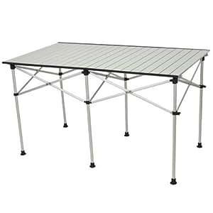 クイックキャンプ 折りたたみ アルミロールテーブル 123×70cm アウトドア テーブル 高さ調節 ALRT-001