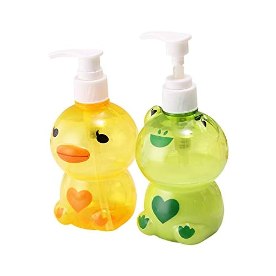 低い浪費現金Dabixx 250ミリリットルポータブルソープディスペンサー子供かわいい動物カエル/アヒル形状プレスタイプ分割空ポンプボトルシャンプーシャワー容器ランダムカラー