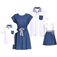 PopReal Short Sleeve Cotton T-Shirt Bowknot Dress Family Matching Outfits White