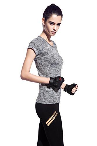 (オナーファション) Honour Fashionレディース 吸汗速乾 トレーニング 半袖 シャツ グレー S