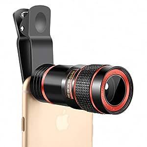 スマホ望遠レンズ kikako ユニバーサル 8x携帯カメラレンズ ズーム調整 取り付け高倍率一眼レフ