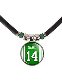 New Yorkニューヨークネックレスあなたの名前と番号サッカージャージーガラスペンダントネックレスjewelry-カスタムNew York Football Jerseyガラスチャームネックレス