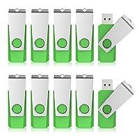 KEXIN 10個1GB USBフラッシュドライブUSB2.0フラッシュドライブバルクパックメモリースティックグリーン