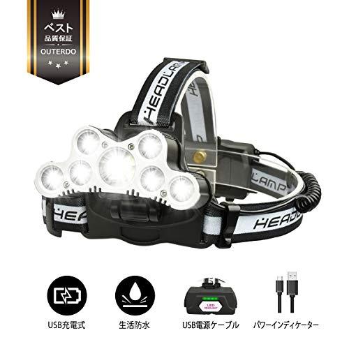 LEDヘッドライト 充電式 OUTERDO 超高輝度 登山 夜釣り 作業用 9灯式 6つ調光モード 10000ルーメン usb充電式(USB充電線付き) 18650電池 SOSホイッスル付け アルミ合金+ABSプラスチック