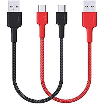 USB C ケーブル AUKEY USB-C & USB-A 2.0 ケーブル 3A急速充電 USB Type-C 機器対応【0.2m*2本 ブラック・レッド】Nintendo switch、MacBook、Galaxy S9/S8/S8+、LG G5 V20、HTC 10など対応 CB-CMD34