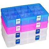 DUOFIRE 高品質アクセサリー収納 小物収納ケースボックス 透明 整理箱 パーツ入れ コレクション ボックス 小物入れ 雑貨入れ 時計ケース【Mサイズ ホワイト2個+ピンク+ブルー】(18グリッド 蓋付き)