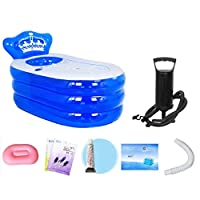 青い透明な浴槽、膨脹可能なジャグジー、携帯用浴槽、特大折りたたみ式の膨脹可能な浴槽-160×90×75cm (色 : 青, サイズ : 160×90×75cm)