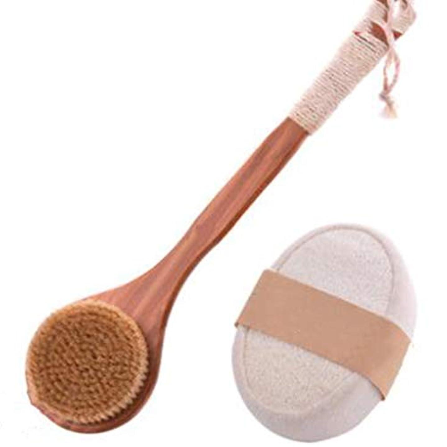 頻繁に無線変形する滑り止めロング木製ハンドル+タオルひょうたんスポンジバスブラシ付きドライバスボディブラシバックスクラバー