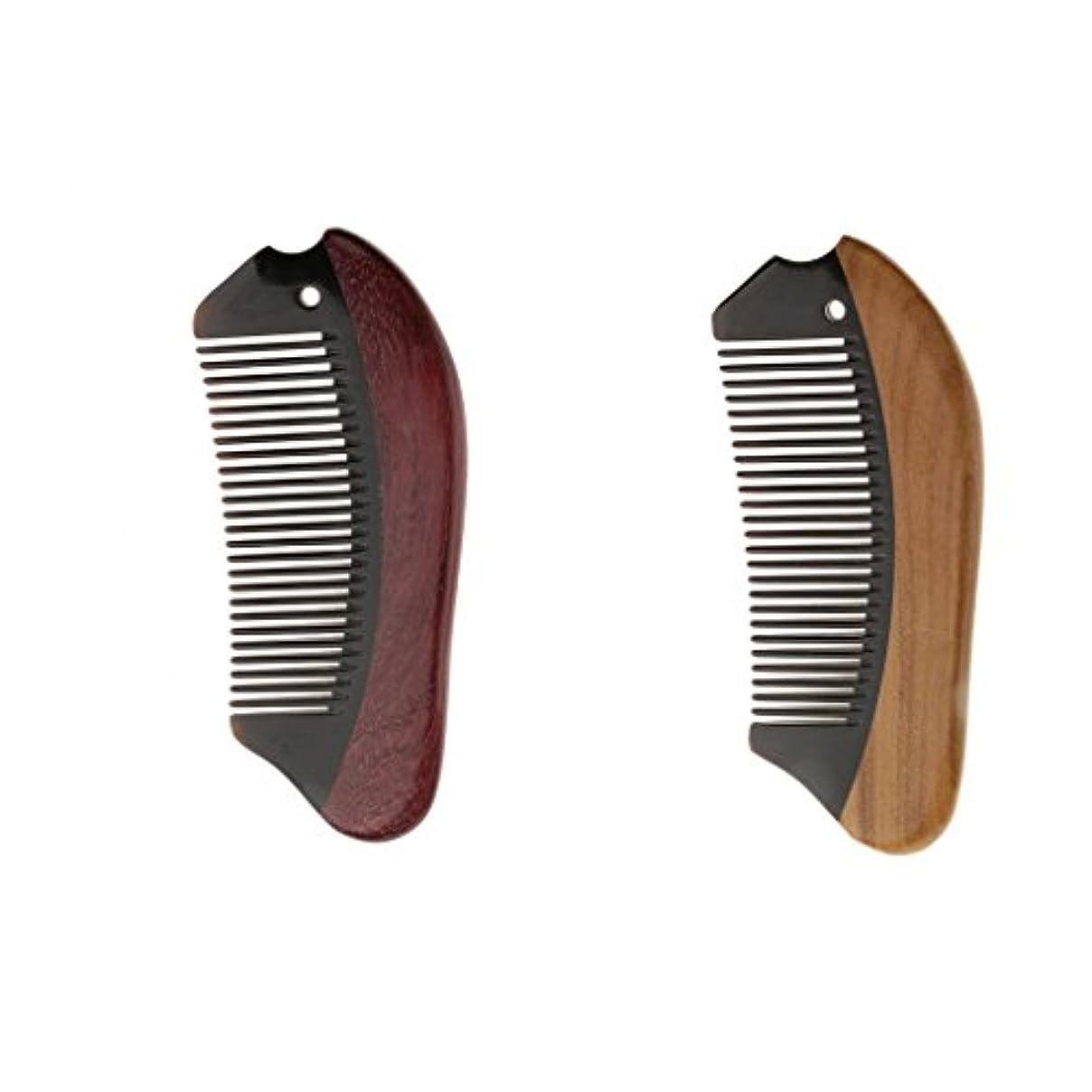 ブランチ居心地の良い製油所Perfk 2個 木製 櫛 コーム 静電気防止 ウッド マッサージ 高品質