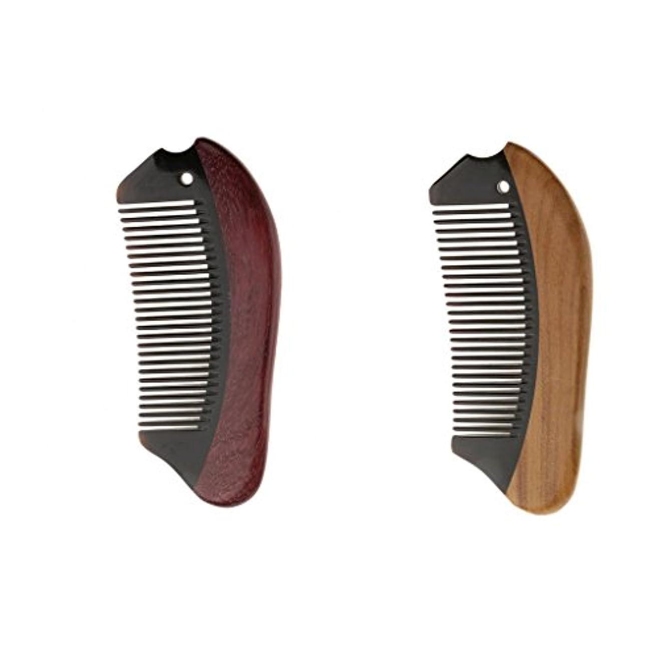 フィルタ顕現タフPerfk 2個 木製 櫛 コーム 静電気防止 ウッド マッサージ 高品質