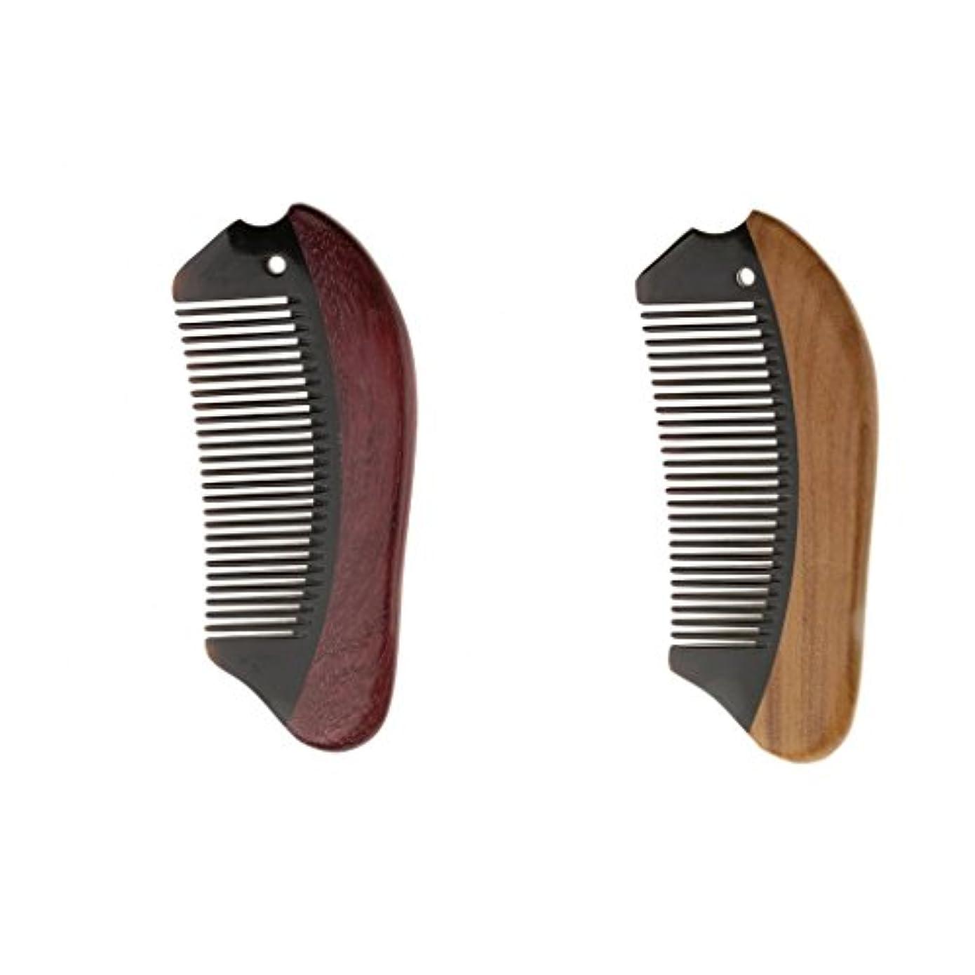 サミュエルおしゃれな落ち着くPerfk 2個 木製 櫛 コーム 静電気防止 ウッド マッサージ 高品質