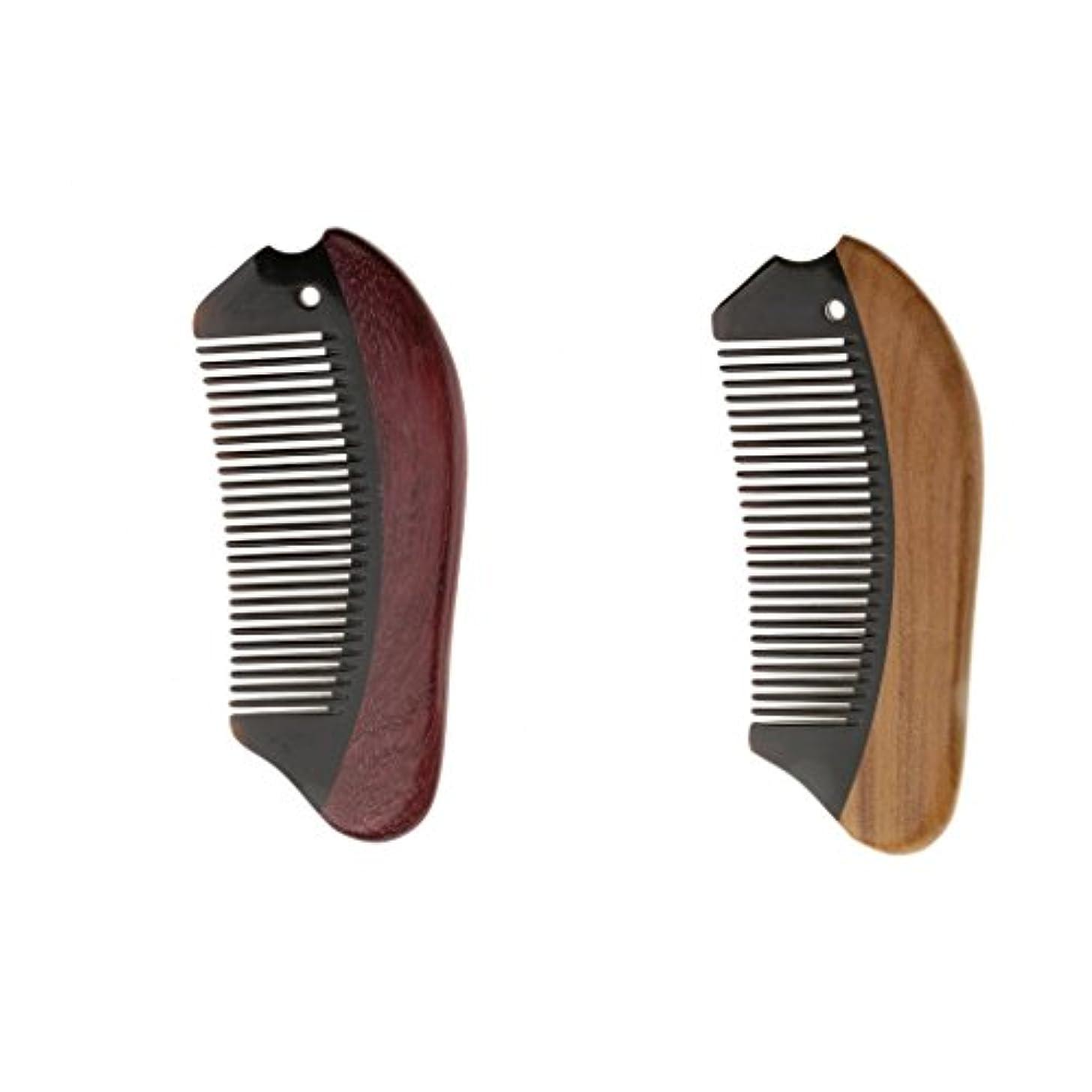 Perfk 2個 木製 櫛 コーム 静電気防止 ウッド マッサージ 高品質