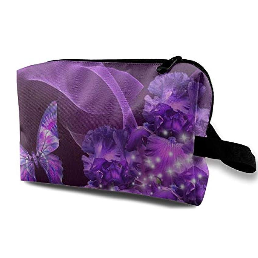 スキップ欲しいです長さPurple Butterfly And Flower 収納ポーチ 化粧ポーチ 大容量 軽量 耐久性 ハンドル付持ち運び便利。入れ 自宅?出張?旅行?アウトドア撮影などに対応。メンズ レディース トラベルグッズ