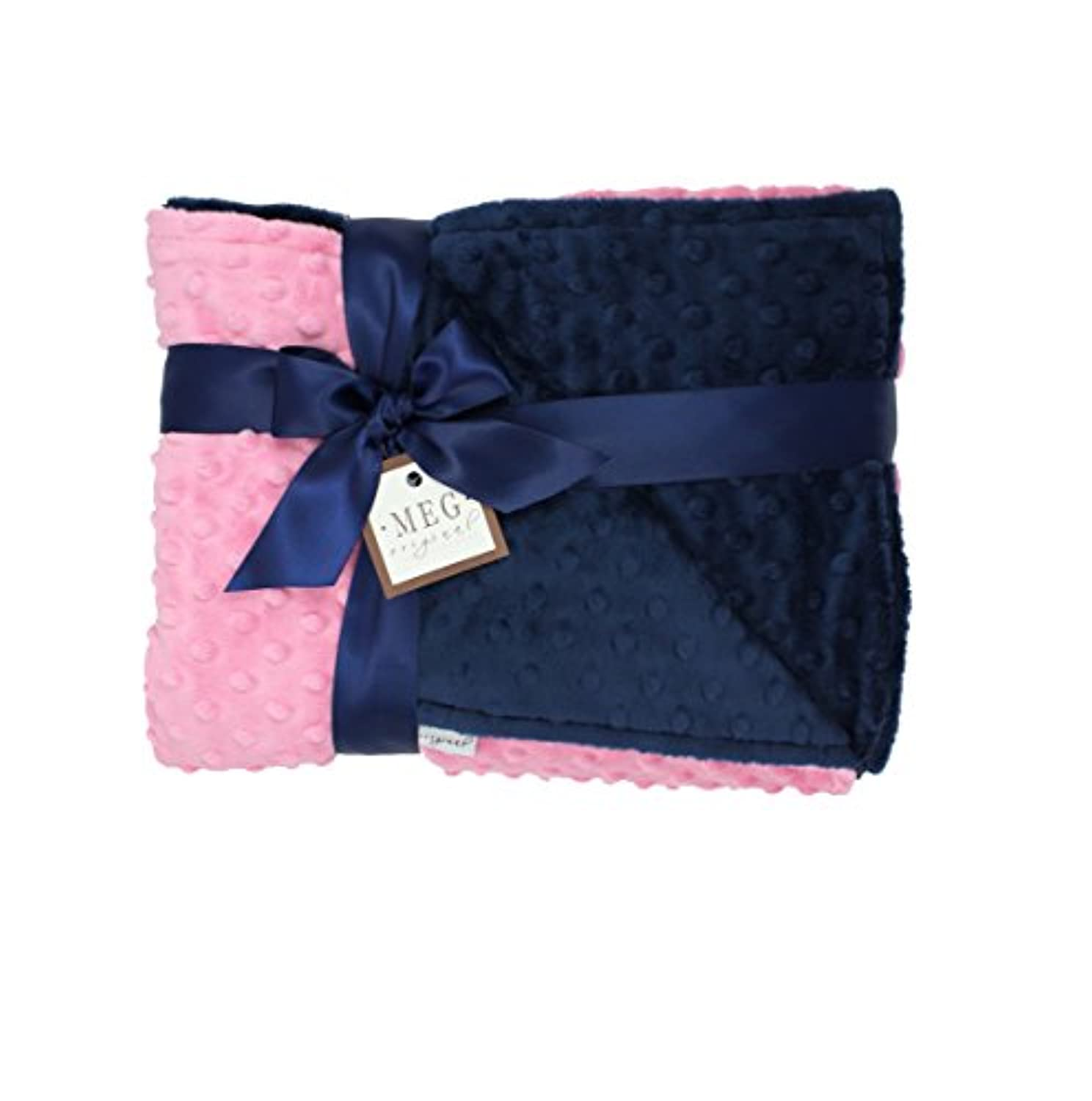 MEG Original Paris Pink and Navy Blue Minky Dot Baby Girl/Toddler Crib Blanket 667 by MEG Original